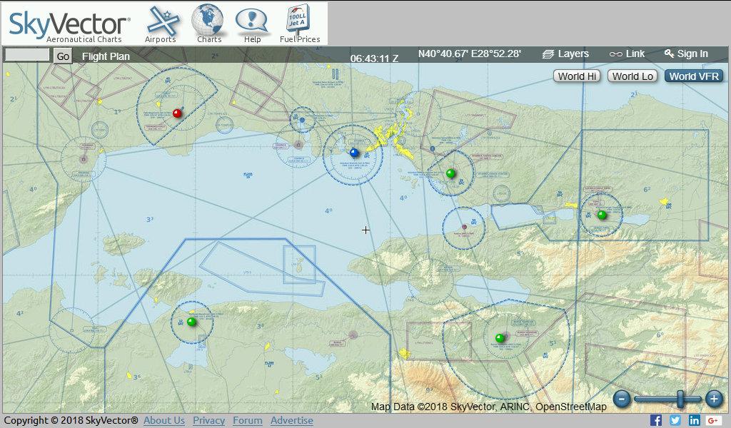 Havacılık için kullanılmakta olan SkyVector sitesinde Marmara Denizi